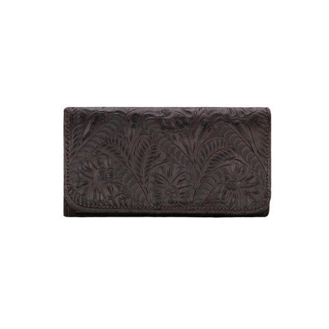 American West Annie's Secret Collection Tri-Fold Wallet Chocolate Leather
