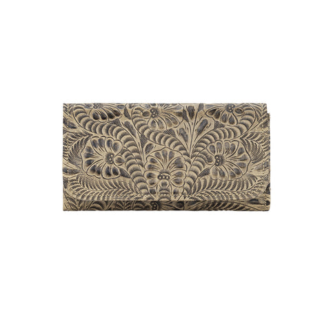 American West Ladies Trifold Wallet Sand Leather
