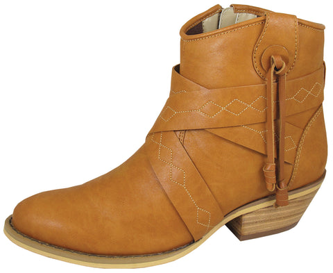Smoky Mountain Boots Womens Molly Tan Faux Leather Ankle