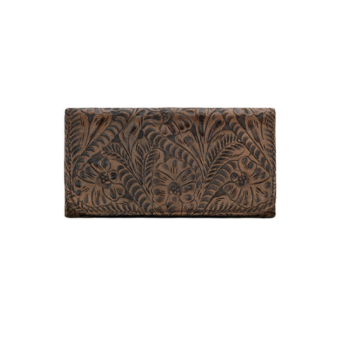 American West Annie's Secret Collection Tri-Fold Charcoal Brown Leather Wallet