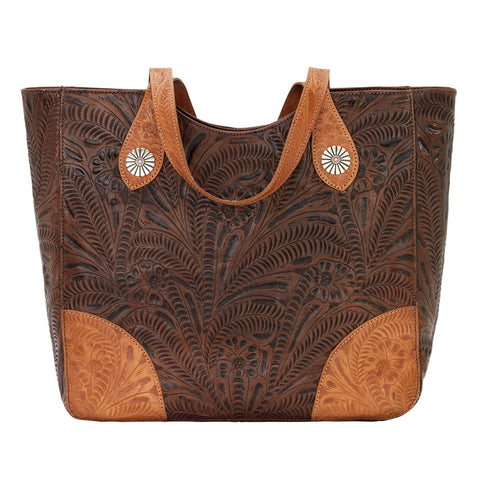 American West Annie's Secret Collection Tote Chestnut Brown Leather Zip Top