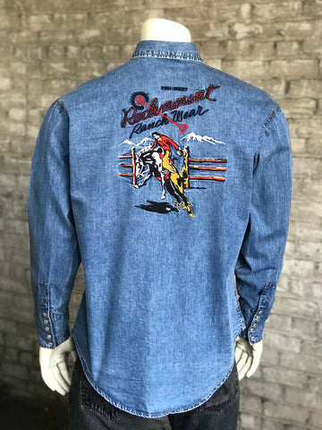 Rockmount Mens Denim 100% Cotton Vintage Bronc L/S Shirt