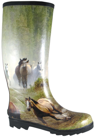 Smoky Mountain Boots Womens Running Horses Multi-Color Rubber Print Rain