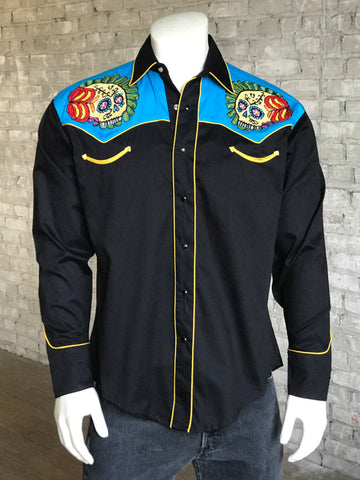 Rockmount Mens Black/Blue 100% Cotton Sugar Skull Embroidered L/S Shirt