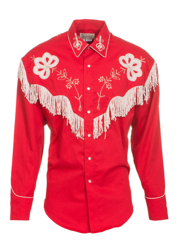 Rockmount Mens Red 100% Cotton L/S Western Shirt Floral Fringe Pearl Snap