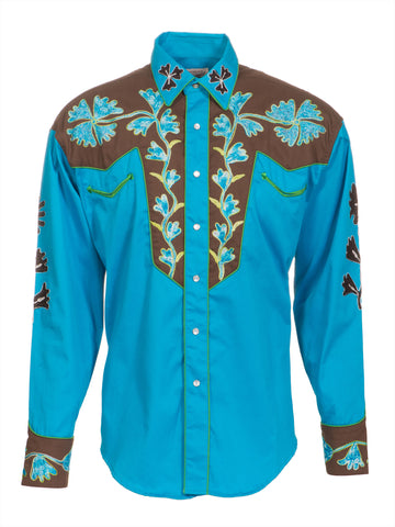 Rockmount Mens Brown/Blue 100% Cotton L/S Western Shirt 2-Tone Embroidered