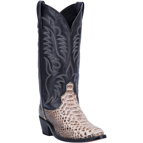 Laredo Mens Key West Cowboy Boots Snake Skin Natural/Black