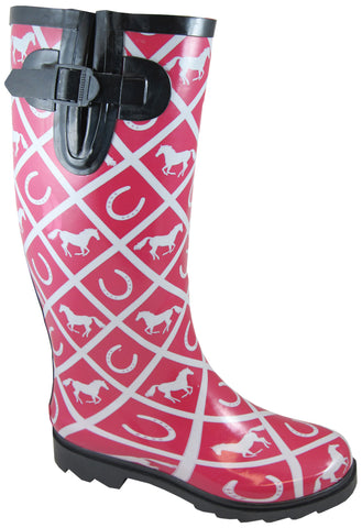 Smoky Mountain Boots Womens Cheshire Maroon Rubber Horses