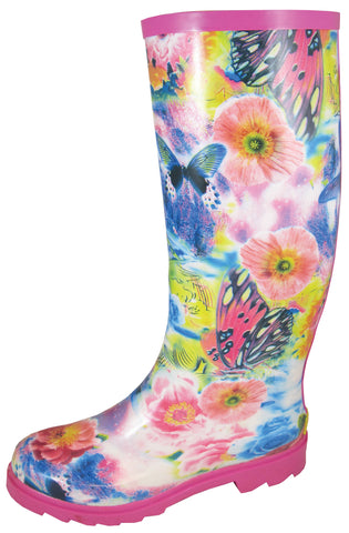 Smoky Mountain Boots Womens Audrey Multi-Color Rubber Butterfly