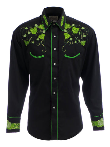 Rockmount Mens Black 100% Cotton L/S Western Shirt Vintage Hops Embroidered