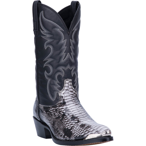Laredo Mens Monty Cowboy Boots Faux Leather Black/White