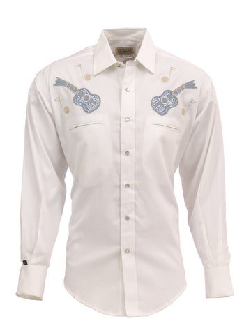 Rockmount Mens White 100% Cotton L/S Western Shirt Guitar Western