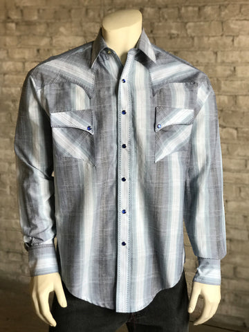 5b7819e09e2 Rockmount Mens Blue 100% Cotton Hombre Stripe Quarter Horse L S Shirt