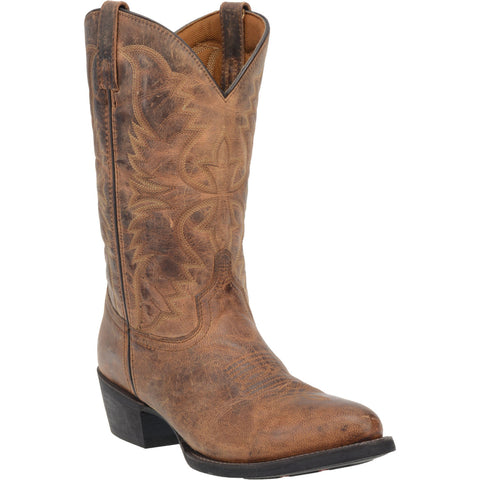 Laredo Mens Tan Cowboy Boots Leather R Toe