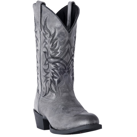 Laredo Mens Grey Harding 12in Cowboy Boots Leather