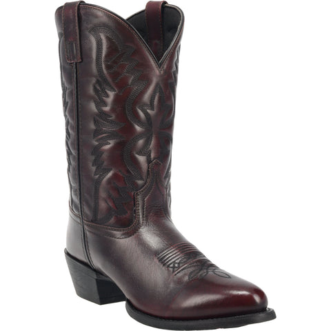Laredo Mens Birchwood Cowboy Boots Leather Black Cherry