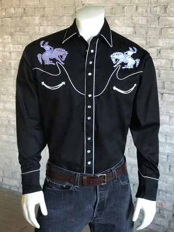 Rockmount Mens Black 100% Cotton Vintage Bronc Western L/S Shirt