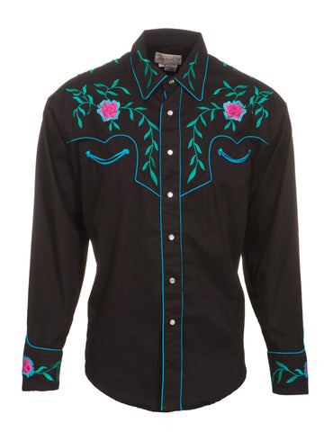 Rockmount Mens Black 100% Cotton L/S Western Shirt Floral Pearl Snap Twill