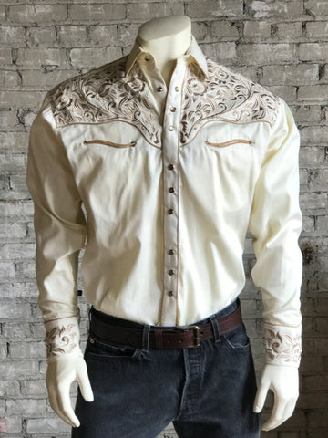 Rockmount Mens Ivory/Tan 100% Cotton Vintage Tooling Western L/S Shirt
