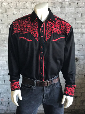 0a420be5 Rockmount Mens Black/Red 100% Cotton Vintage Tooling Western L/S Shirt