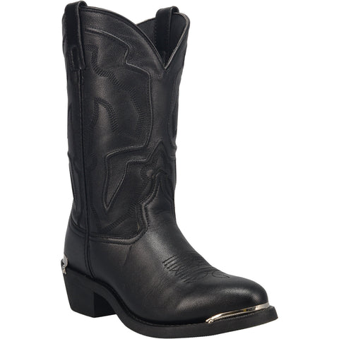 Laredo Mens Black Atlas 12in R Toe Cowboy Boots Leather