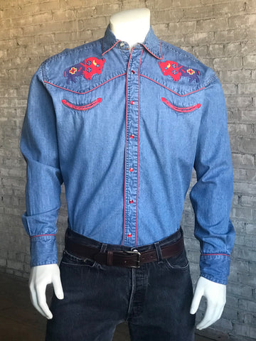 Rockmount Mens Denim 100% Cotton American Bison Western L/S Shirt