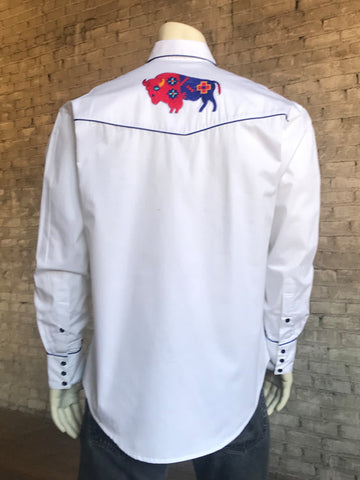 Rockmount Mens White 100% Cotton American Bison Western L/S Shirt