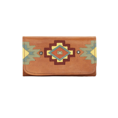 American West Adobe Allure Trifold Wallet Golden Tan Leather