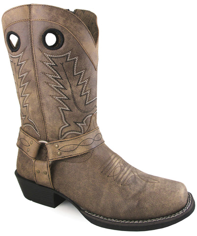 Smoky Mountain Womens Redwood Brown Distress Leather Cowboy Boots