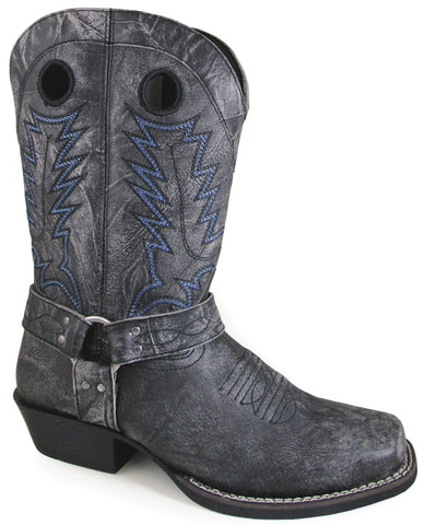 Smoky Mountain Womens Redwood Black Distress Leather Cowboy Boots