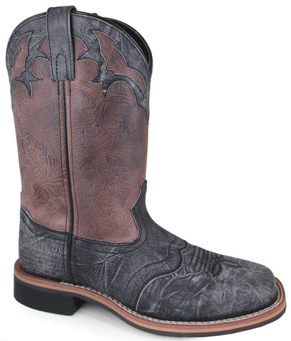 Smoky Mountain Womens Cumberland Black Distress/Brown Leather Cowboy Boots