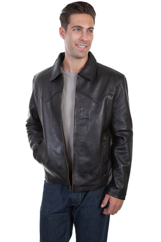 Scully Mens Black Soft Lamb Zip Western Jacket