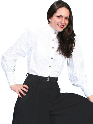 Scully Womens Wahmaker Stand Up Collar Blouse White 100% Cotton L/S