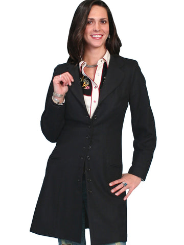 Scully Womens Wahmaker Notched Lapels Frock Coat Black 100% Wool