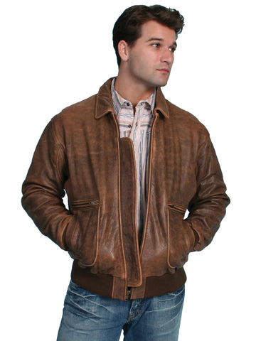 Scully Leather Mens Brown Antique Lamb Bi-Swing Bomber Jacket