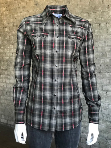 Rockmount Womens Black 100% Cotton Shadow Plaid Western L/S Shirt