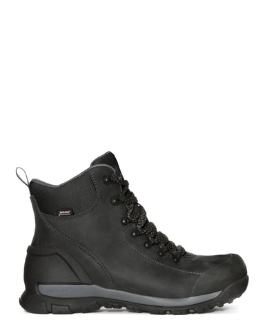 Bogs Mens Black Leather Foundation Mid CT Work Boots