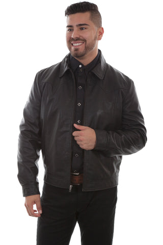 Scully Mens Black Lambskin Contemporary Jacket