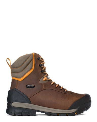Bogs Mens Brown Leather Bedrock 8in CT Insulated Work Boots