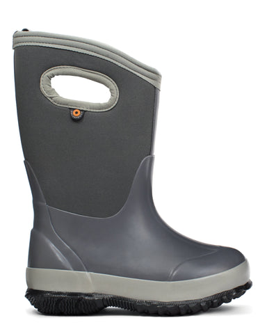 Bogs Kids Light Gray Rubber/Nylon Classic Matte Rain Winter Boots