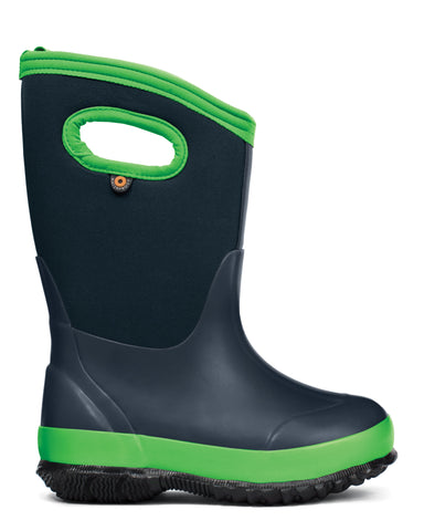 Bogs Kids Navy/Green Rubber/Nylon Classic Matte Rain Winter Boots
