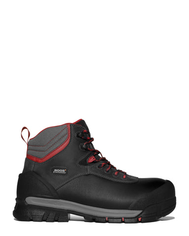 Bogs Mens Black Multi Leather Bedrock Shell CT 6in Work Boots