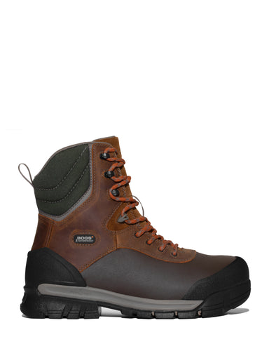 Bogs Mens Brown Multi Leather Bedrock Shell CT 8in Work Boots