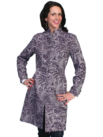 Scully Womens Wahmaker Notched Lapels Tapestry Print Coat Plum Poly Blend
