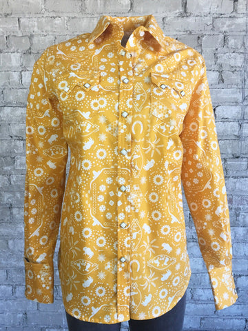 Rockmount Womens Yellow 100% Cotton Bison Bandana Western L/S Shirt