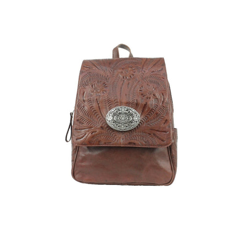 American West Lariats & Lace Chestnut Brown Leather Flap Backpack
