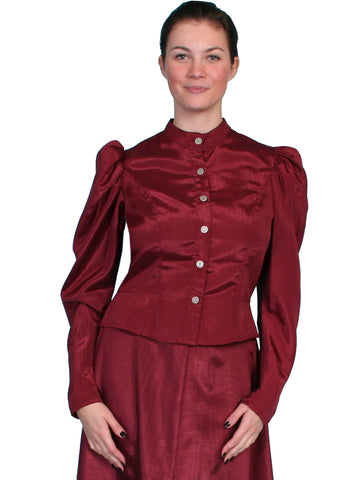 Scully Womens Wahmaker 1880s Style Blouse Burgundy Poly Blend Moire L/S