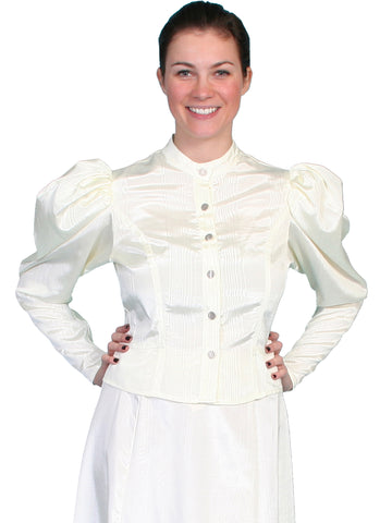 Scully Womens Wahmaker 1880s Style Blouse Natural Poly Blend Moire L/S