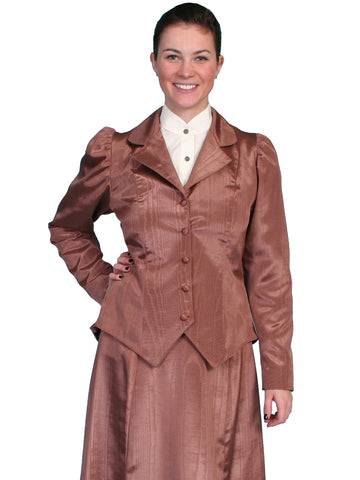 Scully Womens Wahmaker 19th Century Style Jacket Chocolate Poly Blend Moire