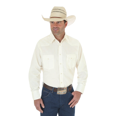 Wrangler Tan Cotton Blend Mens Sport Western L/S Shirt